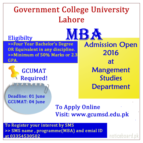 MBA 2016 Admission at Government College University Lahore.